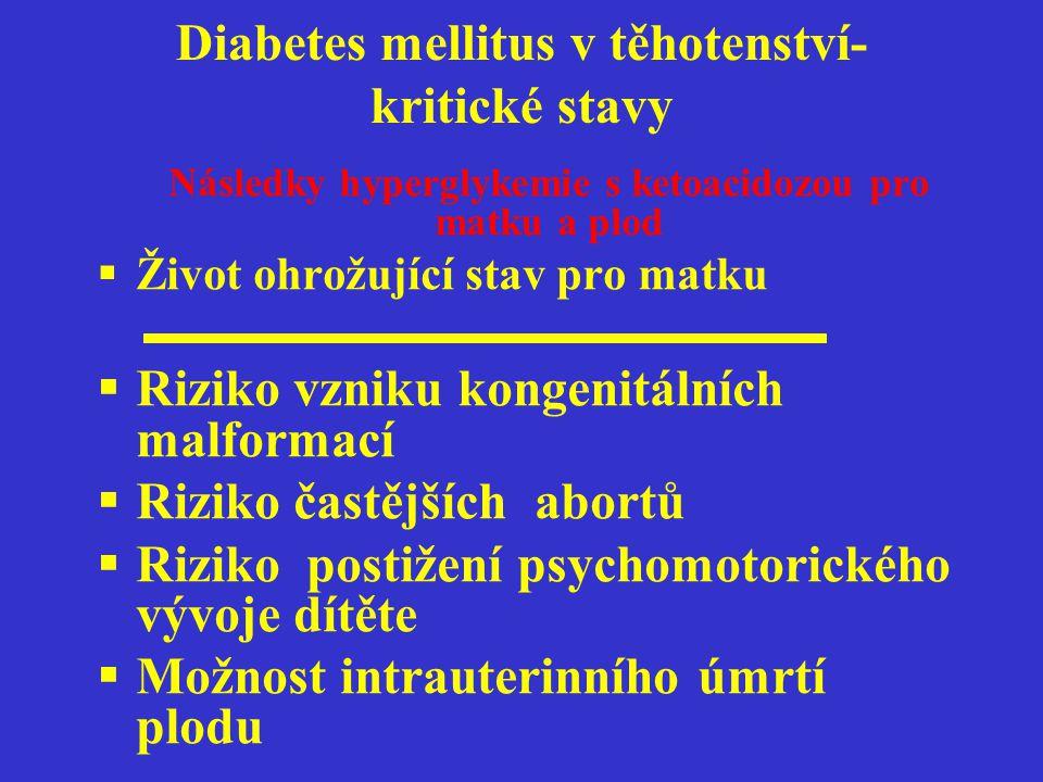 Diabetes mellitus v těhotenství-kritické stavy Hyperglykemie s ketoacidozou,v menší míře i hypoglykemie jsou závažné komplikace diabetu v graviditě a je třeba jejich neodkladné rozpoznání a včasná léčba pro zachování života a zdraví matky i plodu.