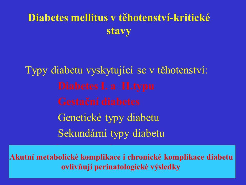 Diabetes mellitus v těhotenství-kritické stavy Akutní metabolické komplikace diabetu v těhotenství  Hypoglykemie  Hyperglykemie  Hyperglykemie s ketoacidozou  Ketoacidotické koma ( Hyperosmolární koma,laktátová acidoza)