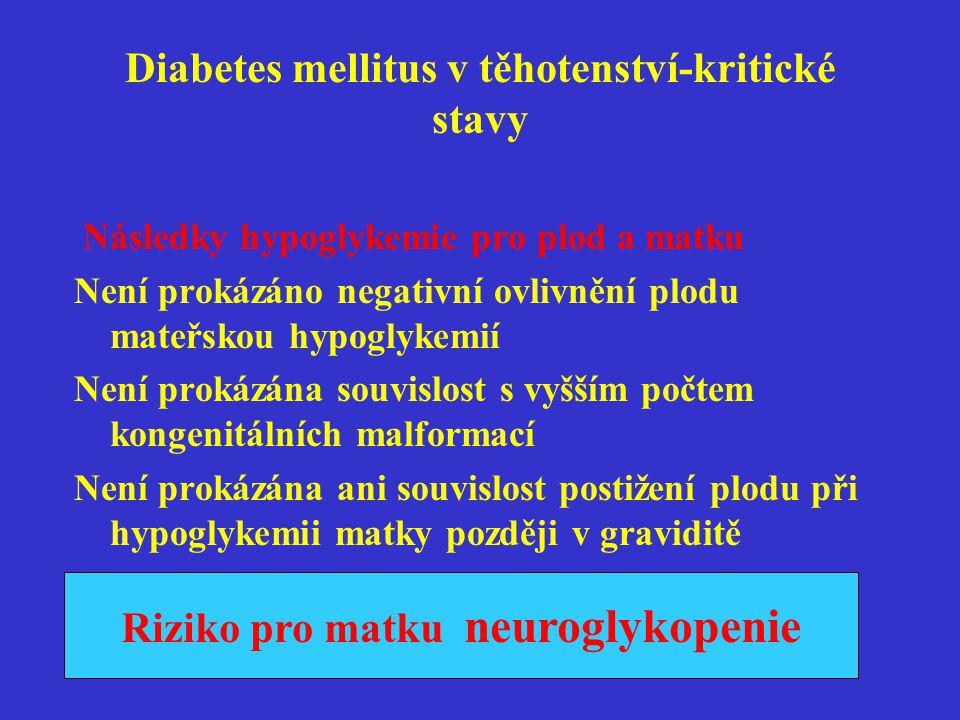 Diabetes mellitus v těhotenství- kritické stavy Hyperglykemie a ketoacidoza •Výskyt kdykoli v graviditě •Klinické známky-bolesti hlavy, nausea zvracení,bolesti břicha,polyurie,polydipsie,porucha dechu •Rychlejší vznik v graviditě •Glykemie nad 15mmol/l(pouze velmi orientační hodnota glykemie )