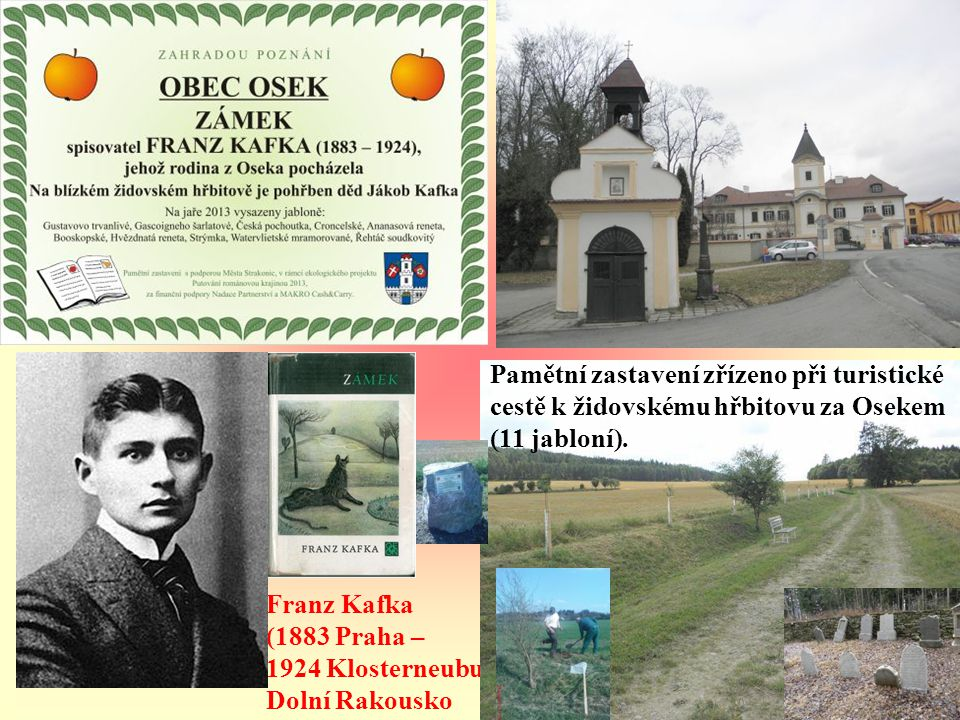 ALOIS JIRÁSEK (1851 Hronov – 1930 Praha) Pamětní zastavení zřízeno při cyklostezce Bojištěm u Sudoměře (10 jabloní).