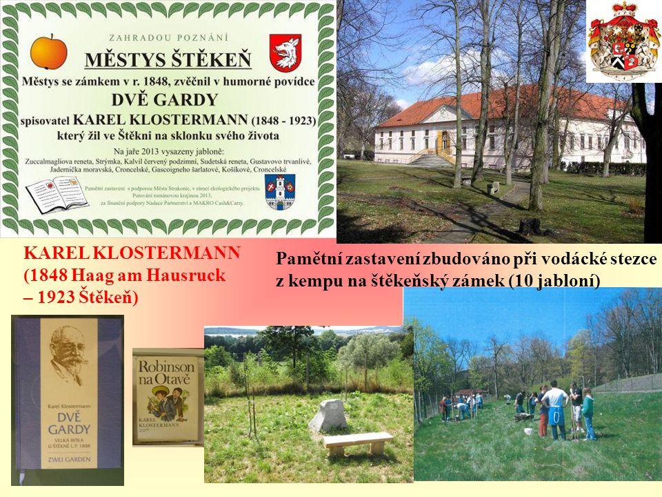 Pamětní zastavení budováno v odpočinkové zóně u jezu řeky Otavy (5 jabloní).