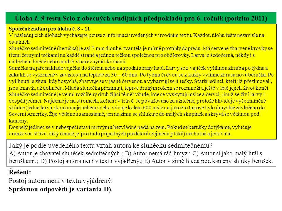 Úloha č.10 testu Scio z obecných studijních předpokladů pro 6.