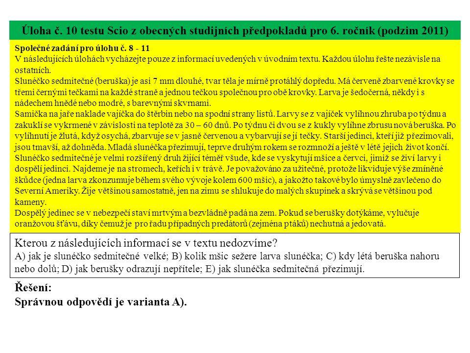 Úloha č.11 testu Scio z obecných studijních předpokladů pro 6.