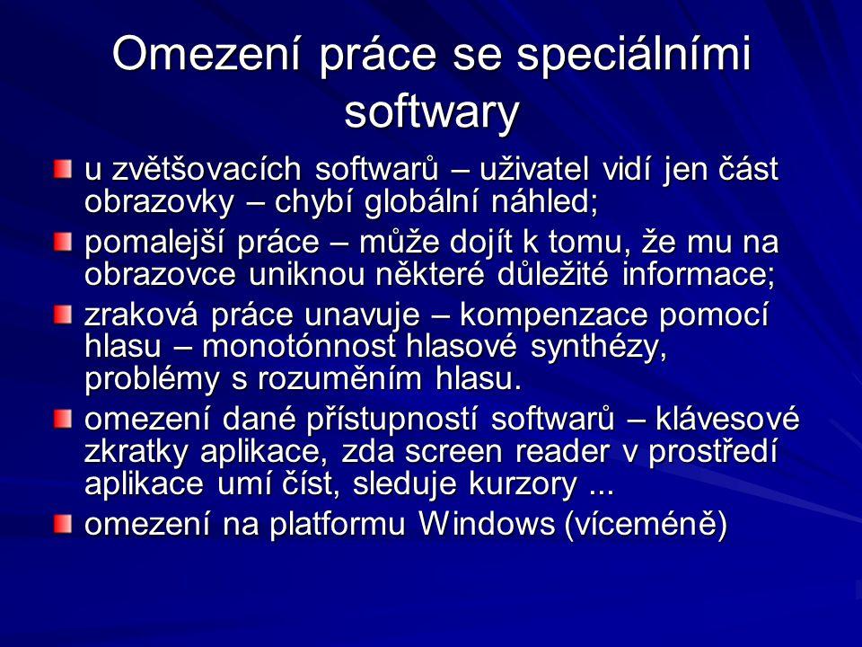 Softwarové lupy (pouze nebo též s hlasovou podporou) ZoomText – iSquered http://www.aisquared.com/index.cfm http://www.aisquared.com/index.cfm Level 1 – bez hlasu, Level 2 – s hlasovou podporou USA Manchester, česká lokalizace Spektra v.
