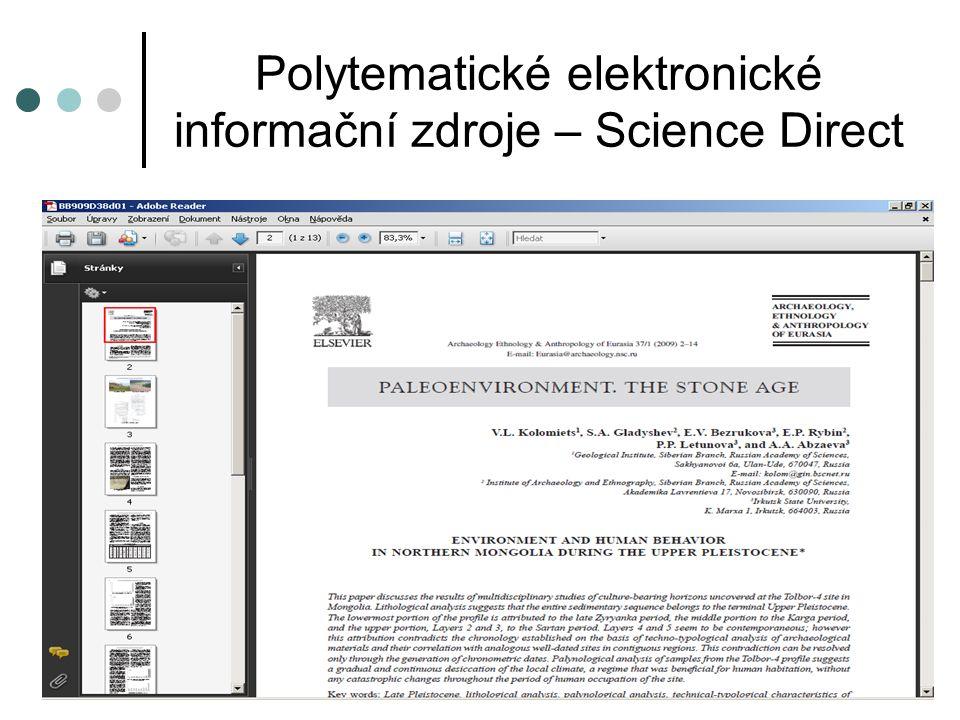 Polytematické elektronické informační zdroje – Springer Link  Springer Link – plnotextová databáze  Přístup z počítačů na ZČU: http://www.springerlink.com http://www.springerlink.com  Vzdálený přístup: http://springer.zcu.czhttp://springer.zcu.cz  Přístup do kolekce plnotextových časopisů od nakladatelství Springer.