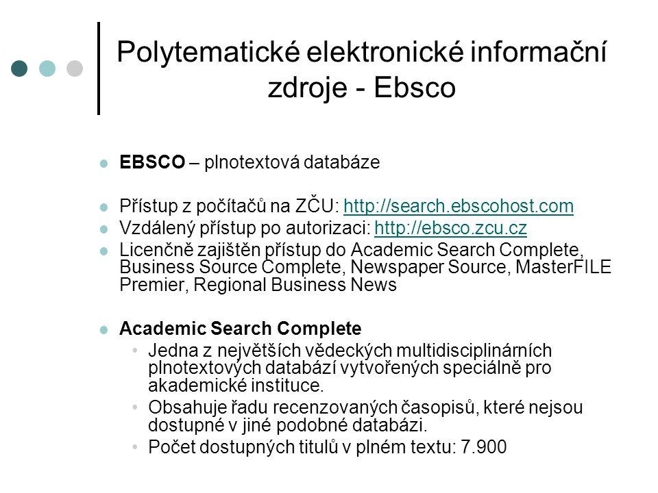 Polytematické elektronické informační zdroje – ProQuest Central  ProQuest Central – plnotextová databáze  Přístup z počítačů na ZČU: http://search.proquest.comhttp://search.proquest.com  Vzdálený přístup po autorizaci: http://proquest.zcu.czhttp://proquest.zcu.cz  ProQuest Central je jedna z největších polytematických světových databází zpřístupňující články z odborných časopisů.