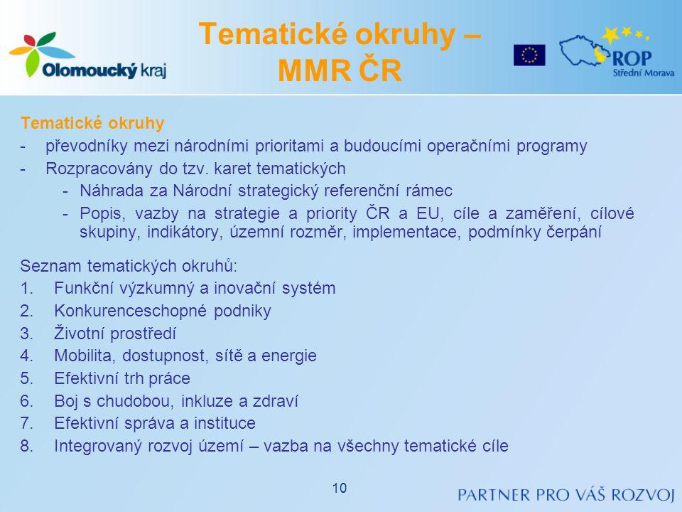 •Vymezení operačních programů pro programové období 2014-2020 – návrh, vzatý na vědomí Vládou ČR dne 6.