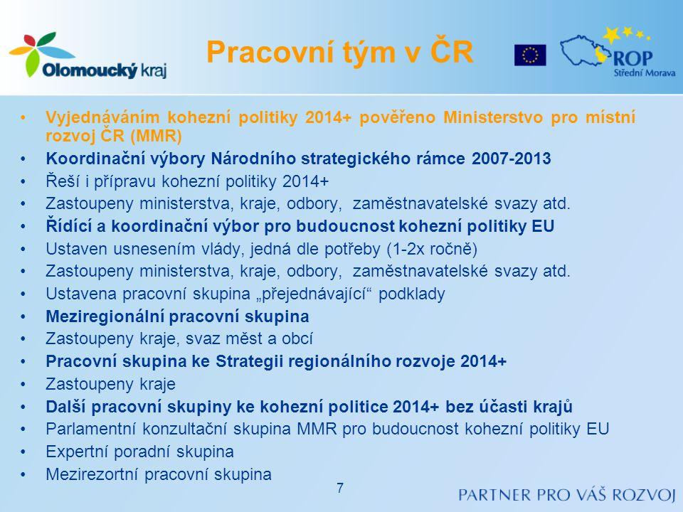 •Aktualizovaná Rámcová pozice ČR k budoucnosti kohezní politiky EU (1/2011, 1/2012) •Formulace základní pozice ČR ke klíčovým aspektům kohezní politiky EU 2014+ •Reakce na návrhy v 5.