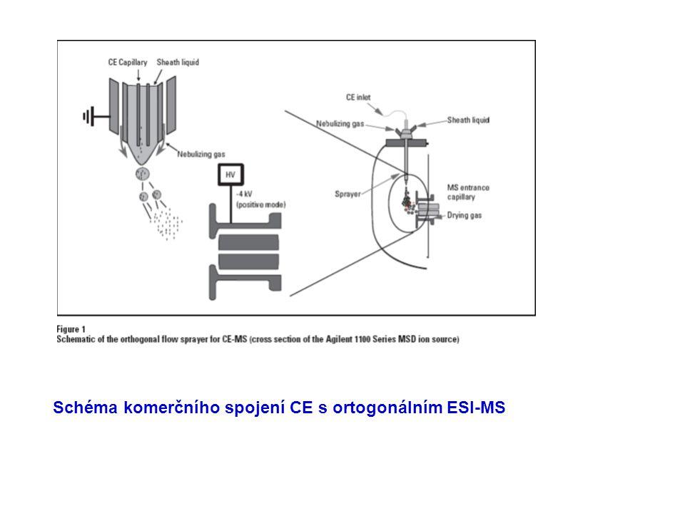CE lze on –line spojit s MS jako kapalinovou separační techniku s měkkými ionizačními technikami: ESI = ionizace elektrosprejem APCI = chemická ionizace za atmosférického tlaku CE lze off-line spojit s ionizací desorpcí laserem (MALDI ionization) pro analýzu biomakromolekul.