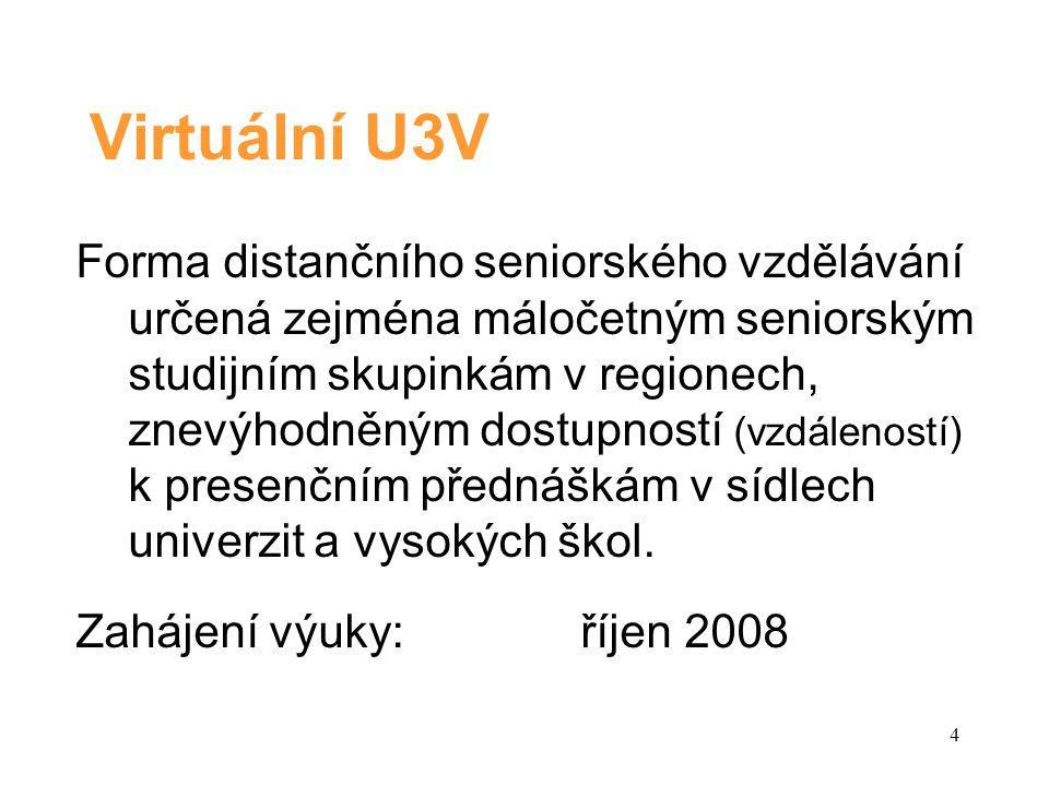 5 Cíl Virtuální U3V Zpřístupnit zájmové vysokoškolské vzdělávání seniorům ve všech lokalitách České republiky.