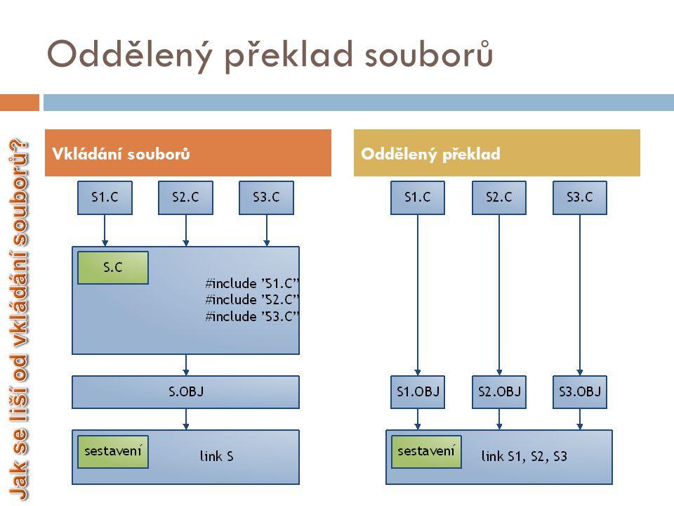Oddělený překlad souborů  Každý soubor se překládá zvlášť – vzniká více.obj souborů  Využití u větších projektů  Při opakovaném překladu je přeložen pouze ten soubor, který byl změněn