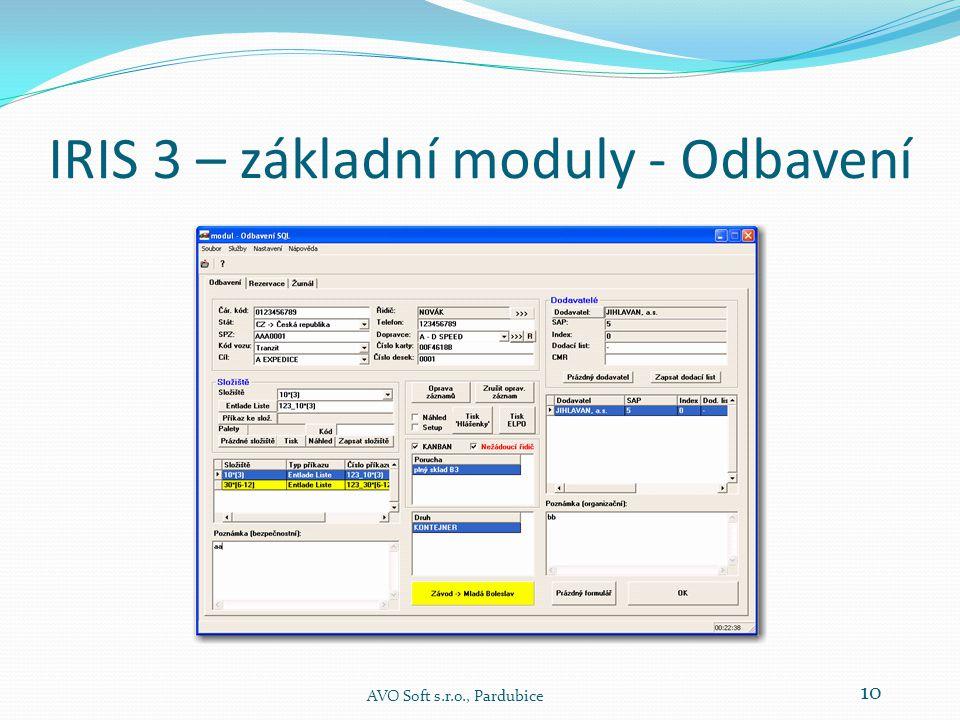 IRIS 3 – základní moduly - Odbavení AVO Soft s.r.o., Pardubice 10
