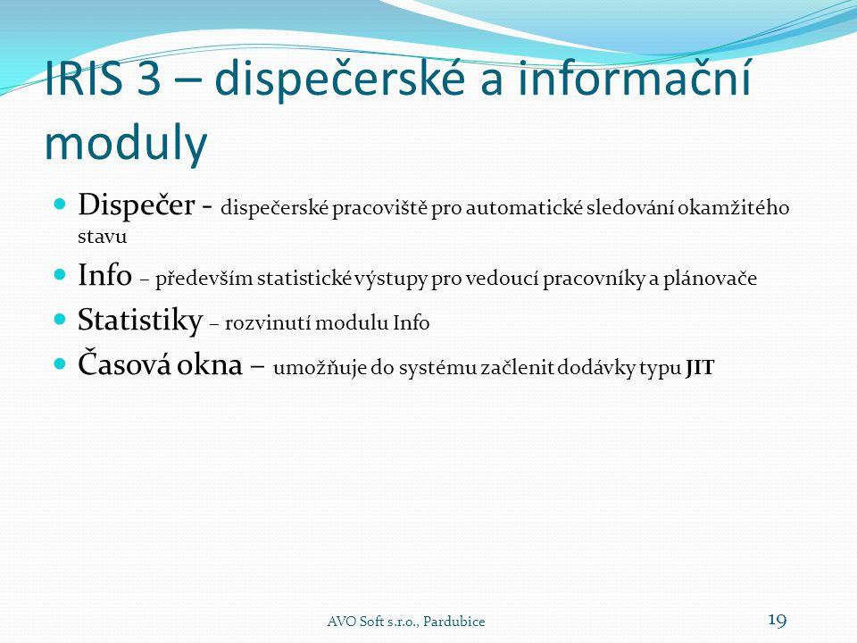 IRIS 3 – dispečerské a informační moduly  Dispečer - dispečerské pracoviště pro automatické sledování okamžitého stavu  Info – především statistické výstupy pro vedoucí pracovníky a plánovače  Statistiky – rozvinutí modulu Info  Časová okna – umožňuje do systému začlenit dodávky typu JIT AVO Soft s.r.o., Pardubice 19