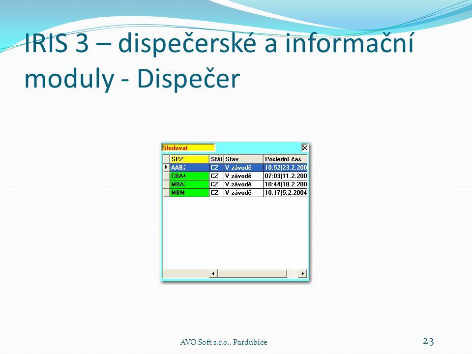 IRIS 3 – dispečerské a informační moduly - Dispečer AVO Soft s.r.o., Pardubice 23