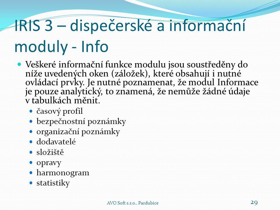 IRIS 3 – dispečerské a informační moduly - Info  Veškeré informační funkce modulu jsou soustředěny do níže uvedených oken (záložek), které obsahují i nutné ovládací prvky.