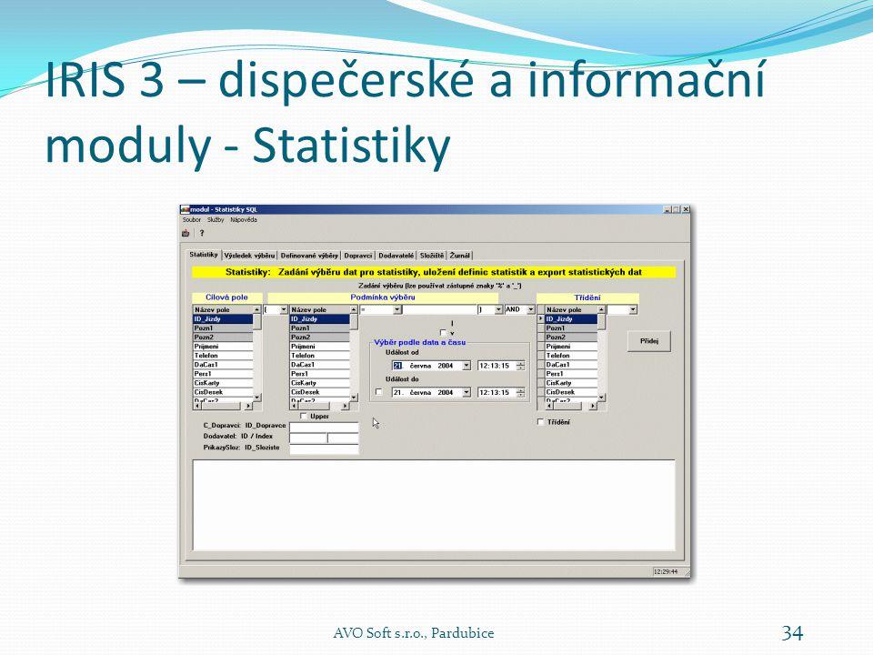 IRIS 3 – dispečerské a informační moduly - Statistiky AVO Soft s.r.o., Pardubice 34
