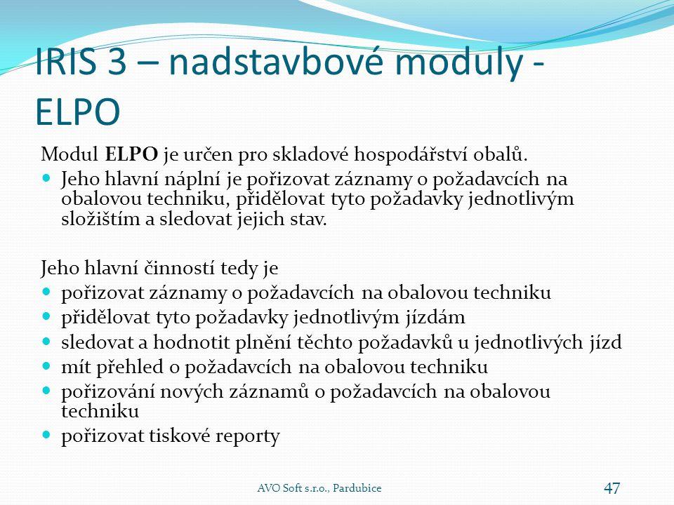 IRIS 3 – nadstavbové moduly - ELPO Modul ELPO je určen pro skladové hospodářství obalů.