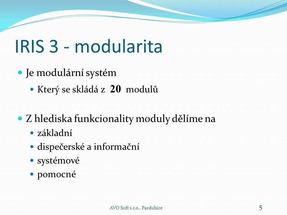 IRIS 3 - modularita  Je modulární systém  Který se skládá z 20 modulů  Z hlediska funkcionality moduly dělíme na  základní  dispečerské a informační  systémové  pomocné AVO Soft s.r.o., Pardubice 5