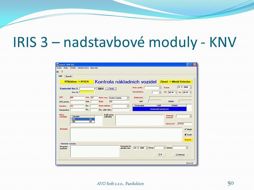 IRIS 3 – nadstavbové moduly - KNV AVO Soft s.r.o., Pardubice 50