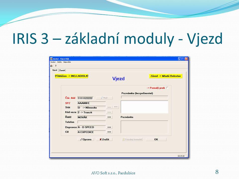 IRIS 3 – základní moduly - Vjezd AVO Soft s.r.o., Pardubice 8