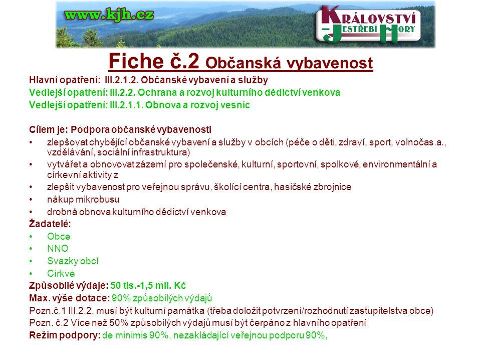 Fiche č.3 Vzdělávání a osvěta Hlavní opatření: III.3.1.