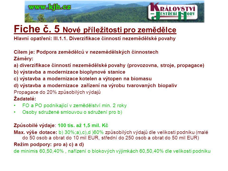 Fiche č.6 Kulturní dědictví venkova Hlavní opatření: III.