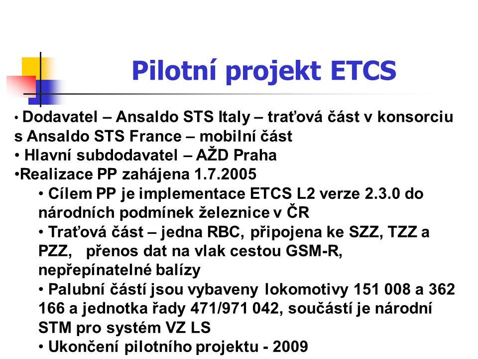 Pilotní projekt ETCS Pilotní projekt ETCS L2 (22 km) Pilotní projekt GSM-R (201 km)