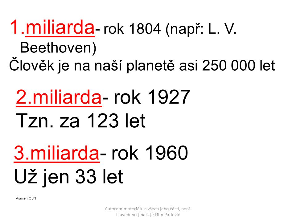 Autorem materiálu a všech jeho částí, není- li uvedeno jinak, je Filip Patlevič 4.miliarda- rok 1974 Už jen 14 let 5.miliarda- rok 1987 Už jen 13 let 6.miliarda- rok 1999 Už jen 12 let