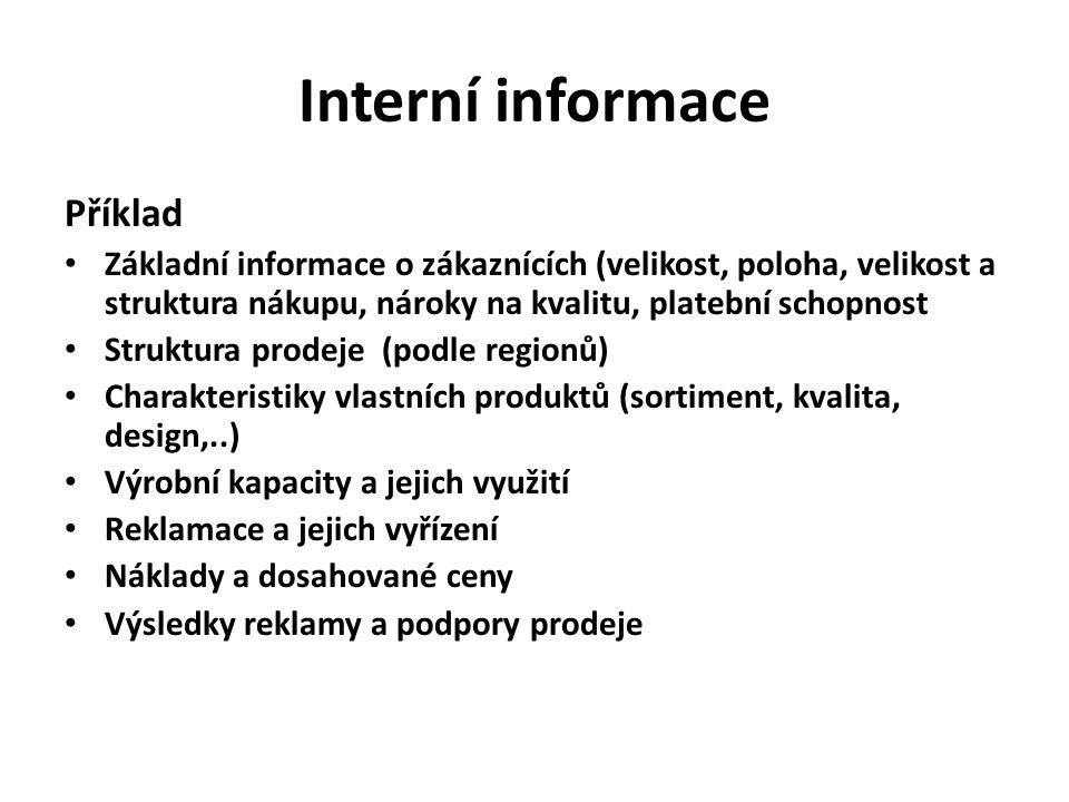 Zdroje interních informací Kartotéky zákazníků Zprávy prodejců TH normy, plánové kalkulace Účetní výkazy Zprávy z veletrhů, jednání se zákazníky, zprávy ze služebních cest..