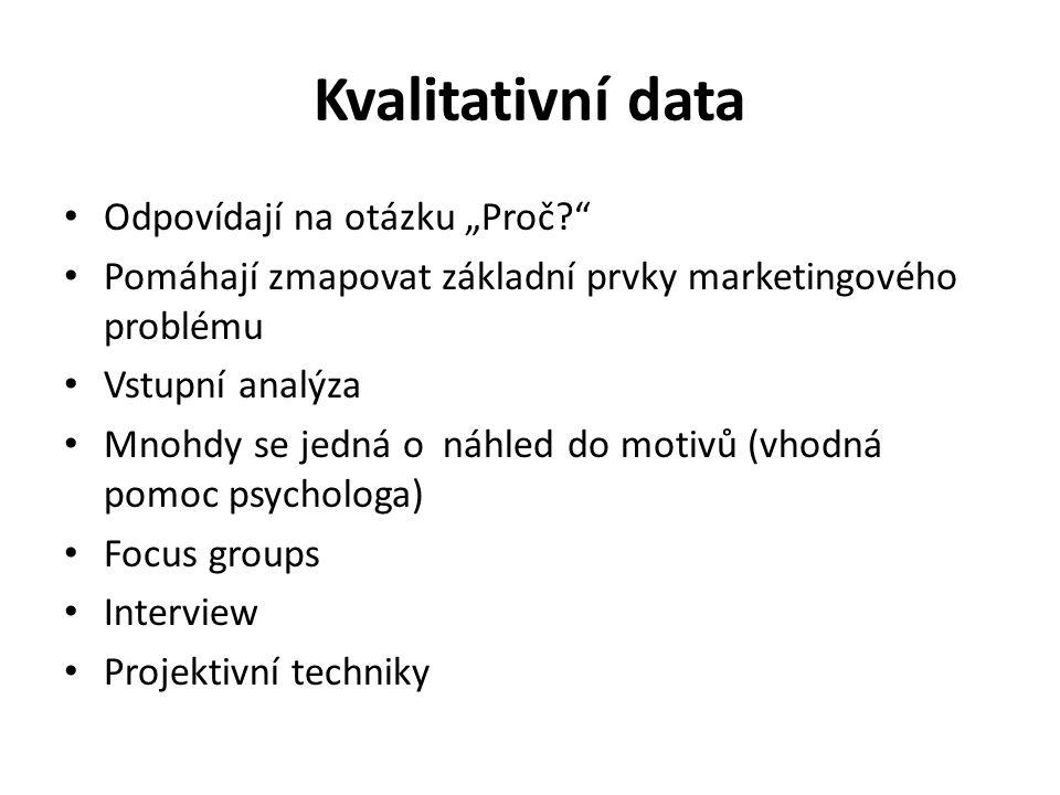 """Kvantitativní data Odpovídají na otázku """"Kolik? Příklady: – Kolik procent spotřebitelů koupí."""