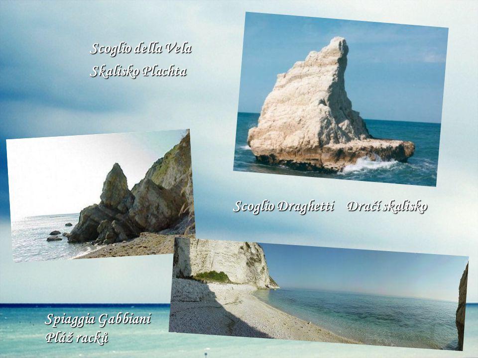 Scoglio della Vela Skalisko Plachta Scoglio Draghetti Dračí skalisko Spiaggia Gabbiani Pláž racků