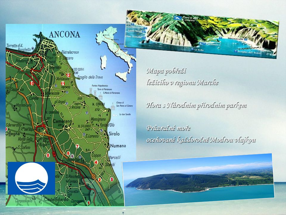Mapa pobřeží ležícího v regionu Marche Hora s Národním přírodním parkem Průzračné moře oceňované každoročně Modrou vlajkou