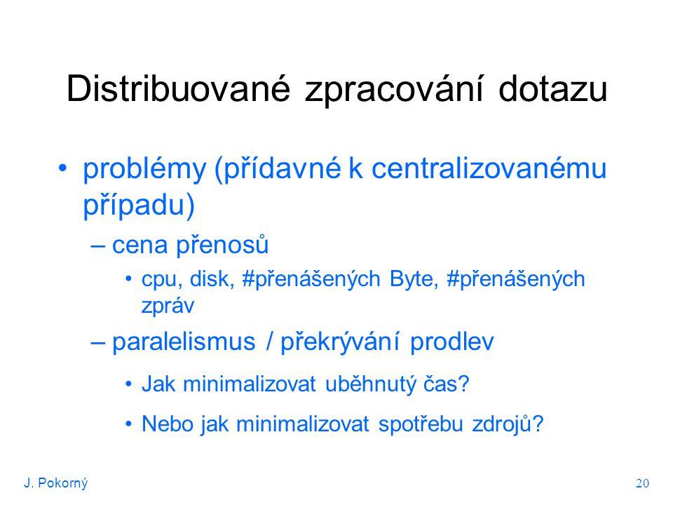 J.Pokorný 21 Optimalizace distribuovaného dotazu – polospojení Č_D...