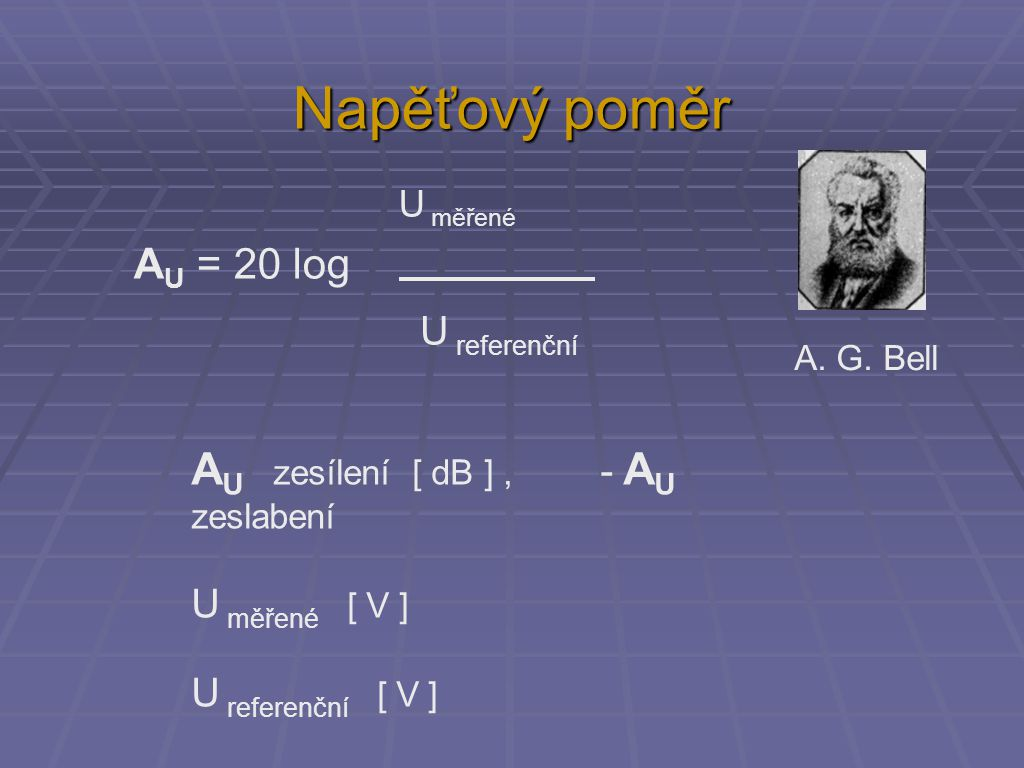 Napěťové zesílení (zeslabení) (výstup zeslaben)(výstup zesílen)ziskútlum poměr napětí (kolikrát víc) dB poměr napětí (kolikrát míň) 1,0 0,01 1,41 3 - 30,71 2,0 6 - 60,5 4,0 12 - 120,25 1020 - 200,1 10040 - 400,01 1 00060 - 600,001 100 000100 - 1000,00001 0,0