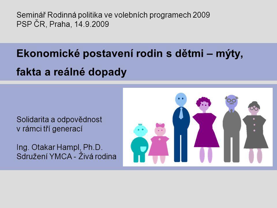Page 2 Důsledky současné situace – reálná hrozba demografické krize Česká republika má vyspělý sociální systém a rodinnou politiku Stát vynakládá nemalé prostředky ze svého rozpočtu Přesto však v evropském měřítku patříme k zemím  s nejnižší porodností  s nejrizikovějším výhledem veřejných financí Dluh státního rozpočtu již významně převýšil 1 bilion Kč Demografické zadlužení státu narostlo do výše 3,5 bilionu Kč S výhledem do roku 2030 až 2050 hrozí ČR vážný demografický problém spolu se zásadními dopady do veřejných financí – zejména v oblasti sociálního a zdravotního pojištění Současná finanční a ekonomická krize problémy veřejných financí vyostřila již nyní – je potřeba hledět ale i do budoucnosti