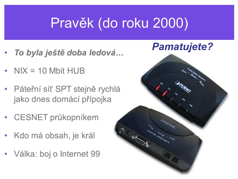Středověk (2000 – 2006) To jsme objevovali web… NIX – od 100 Mbps k 10 GE Bouřlivý vývoj: vznik a skupování telco firem Prudký rozmach WiFi sítí Stahujeme hry a porno Válka: boj o ADSL Zrychlujeme!