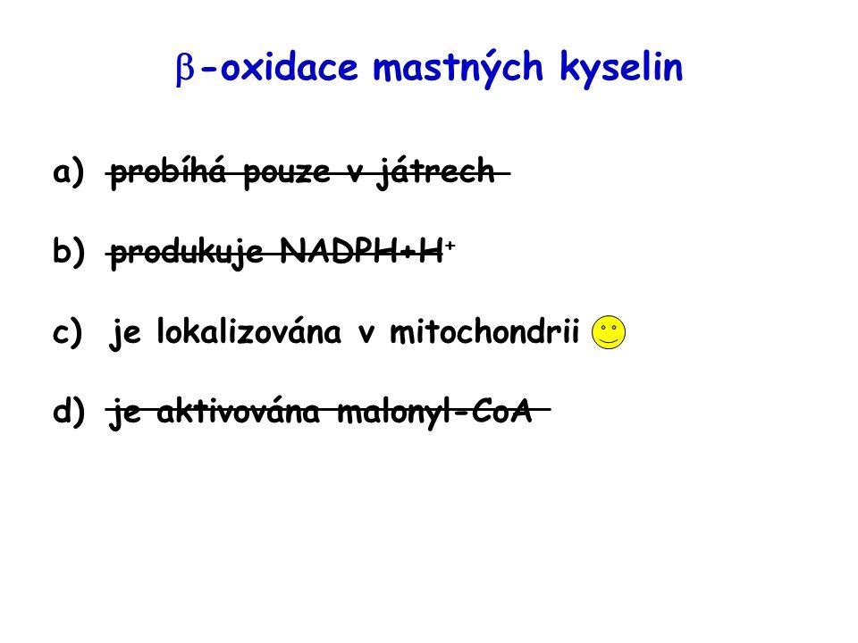Obrázek převzat z http://en.wikipedia.org/wiki/Image:Ketogenesis.png (leden 2007) http://en.wikipedia.org/wiki/Image:Ketogenesis.png Syntéza ketolátek (= ketogeneze) probíhá při   -oxidaci pouze v játrech: v mitochondrii Acetyl-CoA OH
