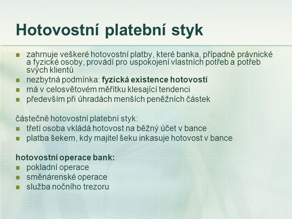 Bezhotovostní platební styk převody platebních nároků vůči bankám, znějící na peněžní obnosy jdou vždy účetní cestou vnitrobankovní platební styk – v rámci jedné banky mezibankovní platební styk – mezi bankami Všeobecné obchodní podmínky vydané Českou národní bankou, která v souladu se zákonem o ČNB metodicky řídí platební styk.