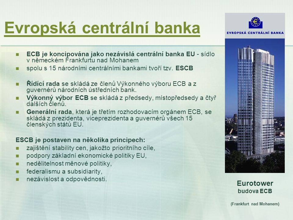 Fungování Evropské centrální banky Základní úkoly uskutečňované ESCB jsou následující: definovat a provádět měnovou politiku Společenství, provádět devizové operace v souladu s příslušným ustanovením Smlouvy, držet a spravovat oficiální devizové rezervy členských států, podporovat plynulé fungování platebních systémů, legislativní činnost a konzultační činnost, shromažďování statistických informací.