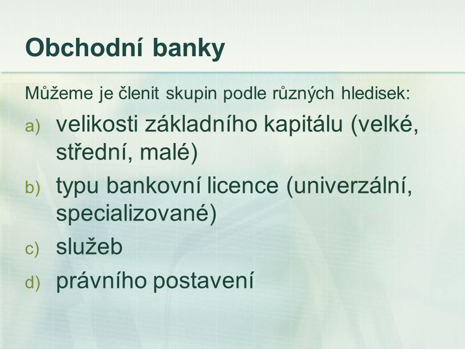 Zásady podnikání bank Zvláštnosti banky jako podnikatelského subjektu Bankovní obchody jsou všechny obchody, které banka uzavírá při provádění svých specifických funkcí.