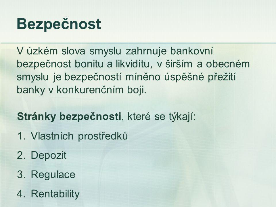 Rentabilita Banka je považována za likvidní, pokud je kdykoliv schopna pokrýt veškeré platební závazky ve stanovených lhůtách.