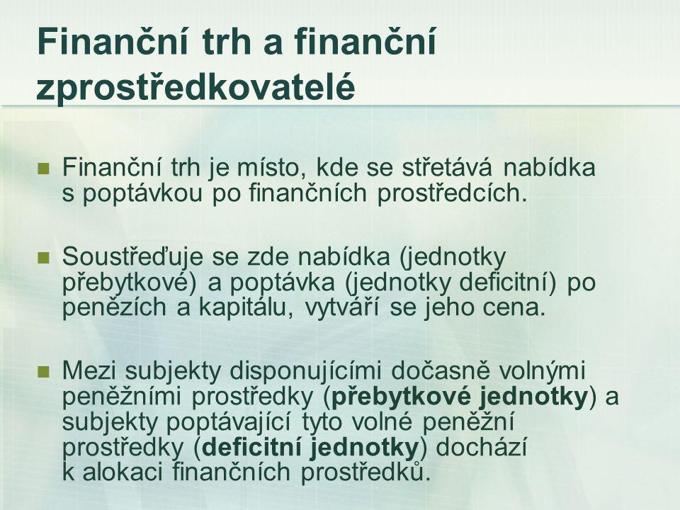 Finanční trh a finanční zprostředkovatelé Přímé financování k alokaci finančních prostředků dochází mezi přebytkovou a deficitní jednotkou přímo – bez existence jakéhokoliv zprostředkovatele  dočasně volné peněžní prostředky přebytkových jednotek investovány do finančních nástrojů - primární finanční instrumenty Nepřímé financování do vztahu mezi dlužníka a věřitele vstupuje tzv.