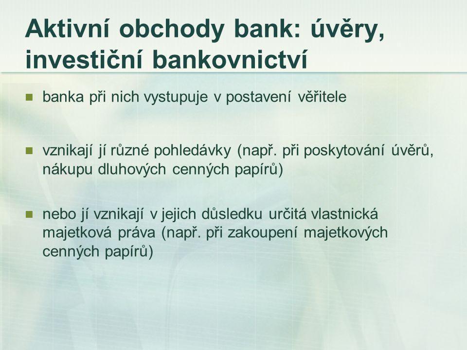 Rizika aktivních obchodů základní podmínka efektivní činnosti banky - správná identifikace, měření a řízení rizik zvyšující se mírou ziskovosti transakce roste i riziko v této transakci obsažené druhy bankovních rizik: úvěrové riziko, měnové riziko, úrokové riziko, likviditní riziko, kapitálové riziko (riziko nesolventnosti)