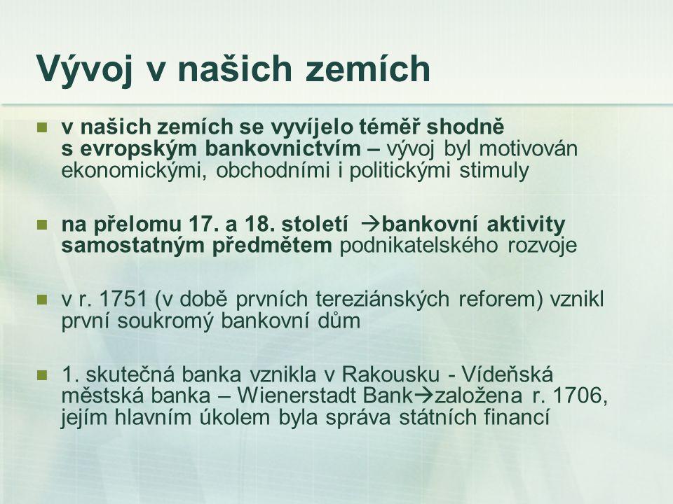 Vývoj v našich zemích Privilegovaná rakouská národní banka  založena r.