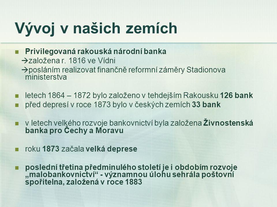 Období Československé republiky, okupace a války (1918–1945) po převratu působilo v českých zemích osm etnicky německých a čtrnáct českých bank spolu s četnými pobočkami vídeňských bank Bankovní úřad při ministerstvu financí  byl vytvořen z Rakousko-uherské Národní banky Poštovní úřad šekový  zajišťoval bezhotovostní platby šekem a vykonával důležité služby při finančních transakcích státu, zvláště při emisních akciích Národní banka Československá  výhradní právo vydávat bankovky  udržovat směnný kurz k cizím měnám zemské a hypoteční banky v Praze, Brně a v Opavě