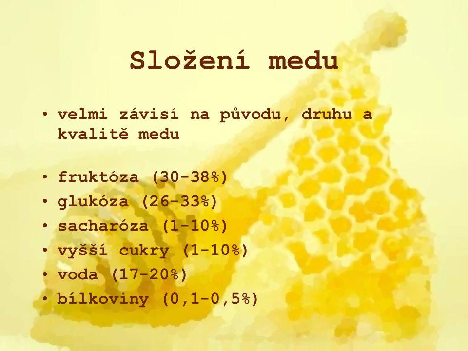 Složení medu vitamíny A, B1, B2, B6, B12, C, D, H, K, E, P enzymy (0,1-0,6%) glukozooxidáza, fosfatáza, invertáza, diastáza, kataláza vonné látky barviva karoten, flavony pylová zrnka