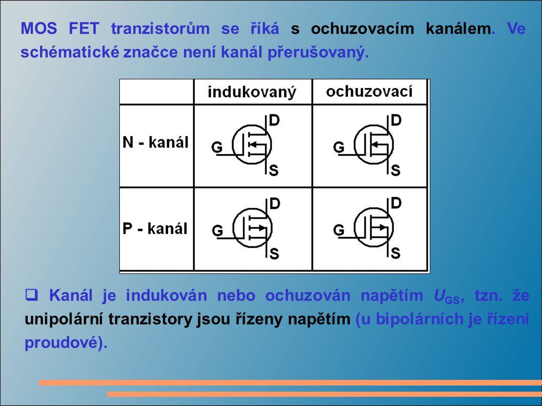  Výstupní charakteristiky MOS-FET tranzistoru s indukovaným N-kanálem se dělí na oblast saturace (vpravo za přerušovanou čarou – zvyšování napětí U DS již nezvyšuje proud I D ) a oblast kde se tranzistor chová jako napětím řízený odpor (vlevo od přerušované čáry – řídící napětí mění strmost křivky – a tedy i odpor kanálu R DS ).