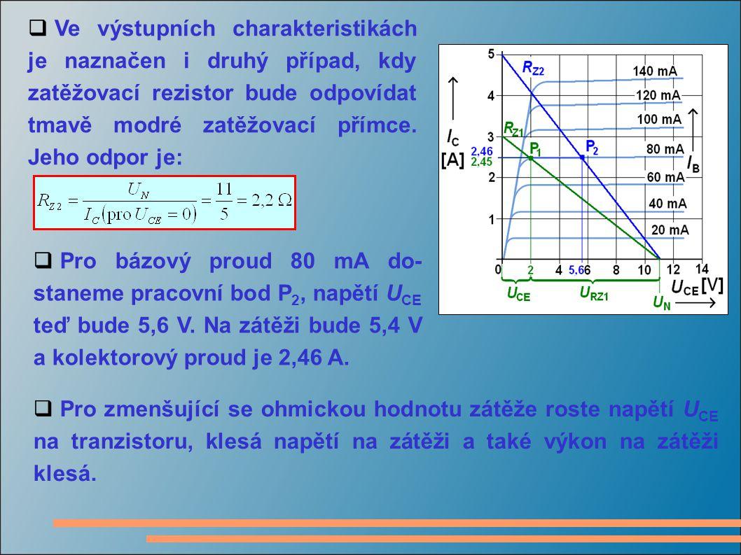  Na této výstupní chara- kteristice tranzistoru je znázor- něn vliv změny bázového proudu.