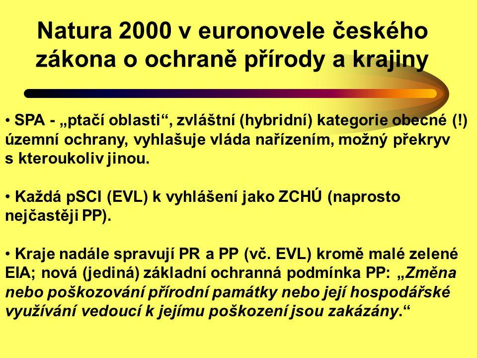 """Další prvky z novely zákona o ochraně přírody a krajiny """"Změkčení účelu zákona Smluvní územní ochrana Mírné ztížení účasti veřejnosti ve správních řízeních (Pelc) Náhrada za ztížení hospodaření z titulu ochrany přírody Nejasné rozhodování vlády o výjimkách ze zákazů (Aubrecht) Hodnocení možných důsledků plánů a projektů na lokality Natura 2000 – s vlastní autorizací (příležitost pro biology!) buď samostatně nebo v rámci EIA/SEA podle zvláštního zákona"""