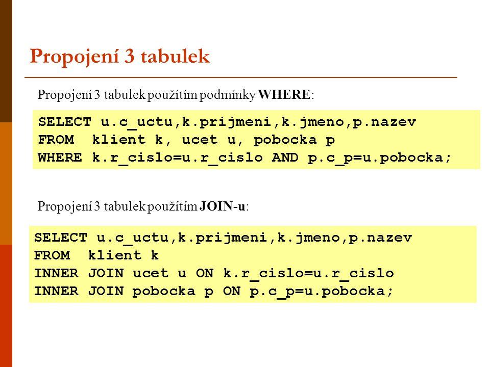 Výpis seznamu příjmení, stylem každý z každým : Samosloučení SELECT k1.prijmeni, k2.prijmeni FROM Klient AS k1, Klient AS k2 WHERE k1.r_cislo != k2.r_cislo ORDER BY k1.prijmeni SQL umožňuje otevřít pomocí příkazu SELECT dvakrát tu samou tabulku, je pouze nutné druhé tabulce přiřadit jiný lokální alias.